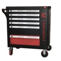Тележка инструментальная 6-полочная с набором инструментов 154пр(черно-красная)и доп.секцией